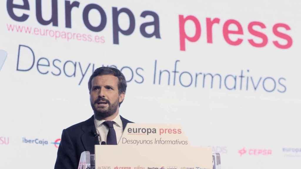 Pablo Casado, presidente del PP, en el desayuno informativo de la agencia Europa Press.
