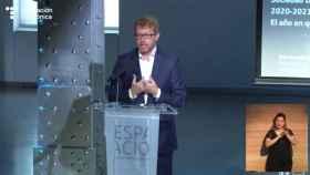 Sergio Oslé, nuevo CEO de Telefónica España, en la presentación del informe 'Sociedad Digital en España'.