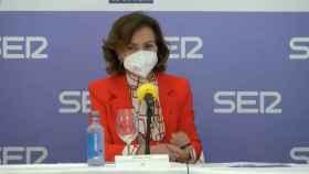 La vicepresidenta del Gobierno, Carmen Calvo, este miércoles en un foro de la SER Cantabria.