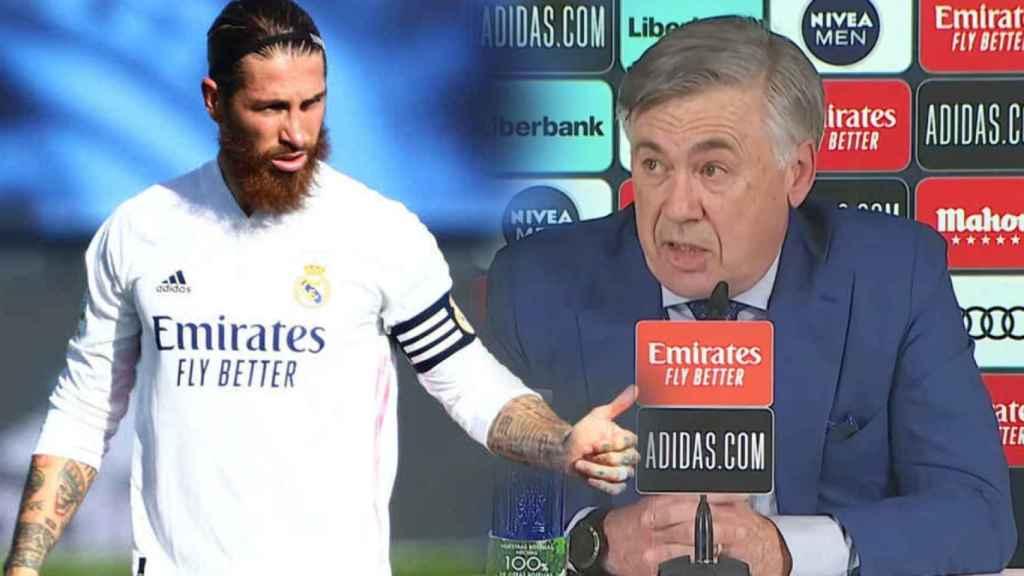 Sergio Ramos y Carlo Ancelotti, en un fotomontaje