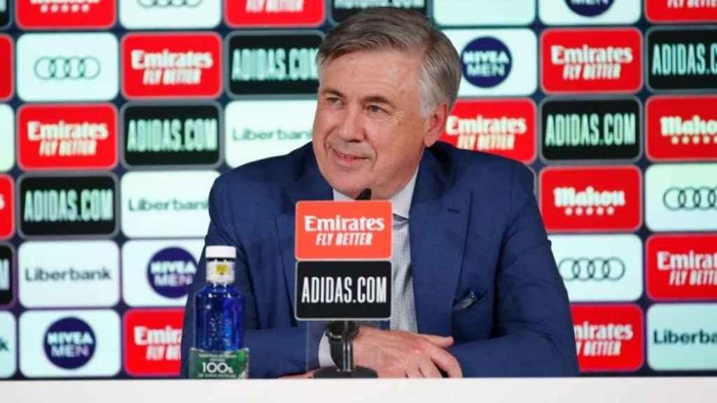 Carlo Ancelotti, durante su primera rueda de prensa en su regreso al Real Madrid