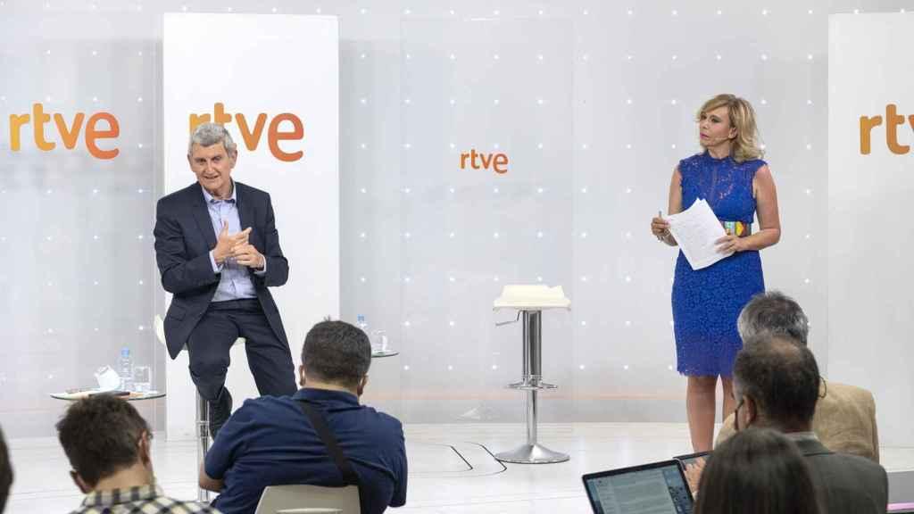 Imagen de la rueda de prensa del presidente de RTVE.