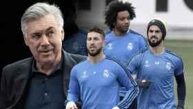 Ancelotti, Sergio Ramos, Marcelo e Isco