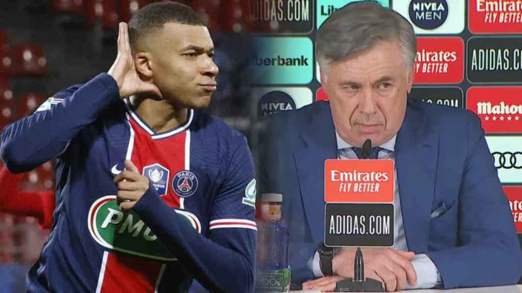 Kylian Mbappé y Carlo Ancelotti, en un fotomontaje