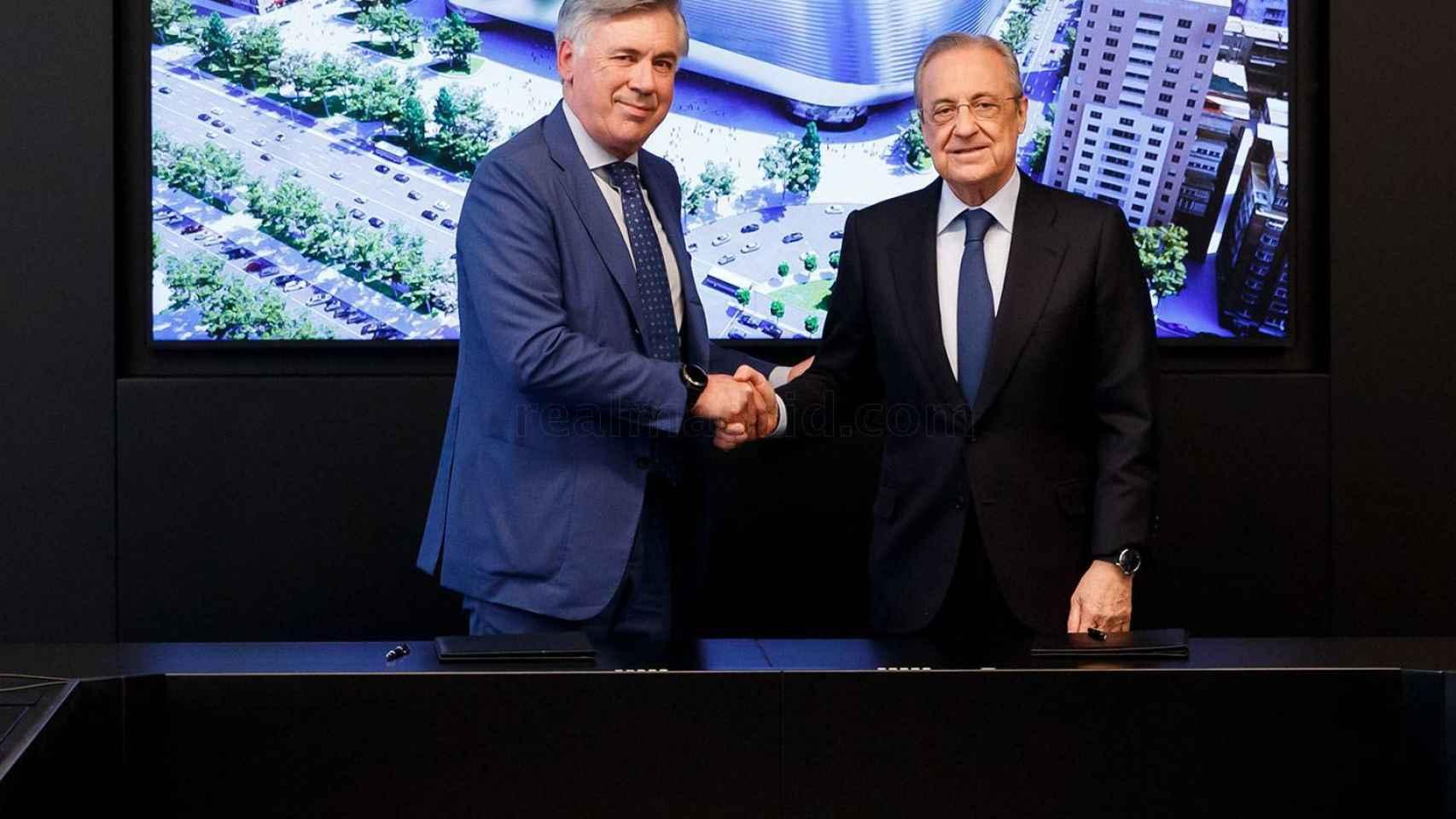 La firma de contrato de Carlo Ancelotti con Florentino Pérez
