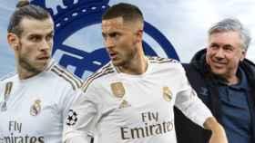 Bale, Hazard y Ancelotti, en un fotomontaje