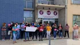 Concentración sindical ante la delegación de CMM en Albacete