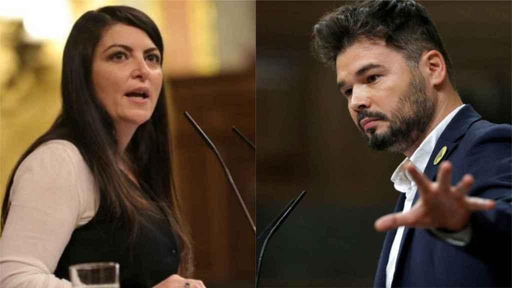 Macarena Olona (Vox) y Gabriel Rufián (ERC) en una imagen de archivo.