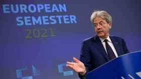 El comisario de Asuntos Económicos, Paolo Gentiloni, durante la rueda de prensa de este miércoles