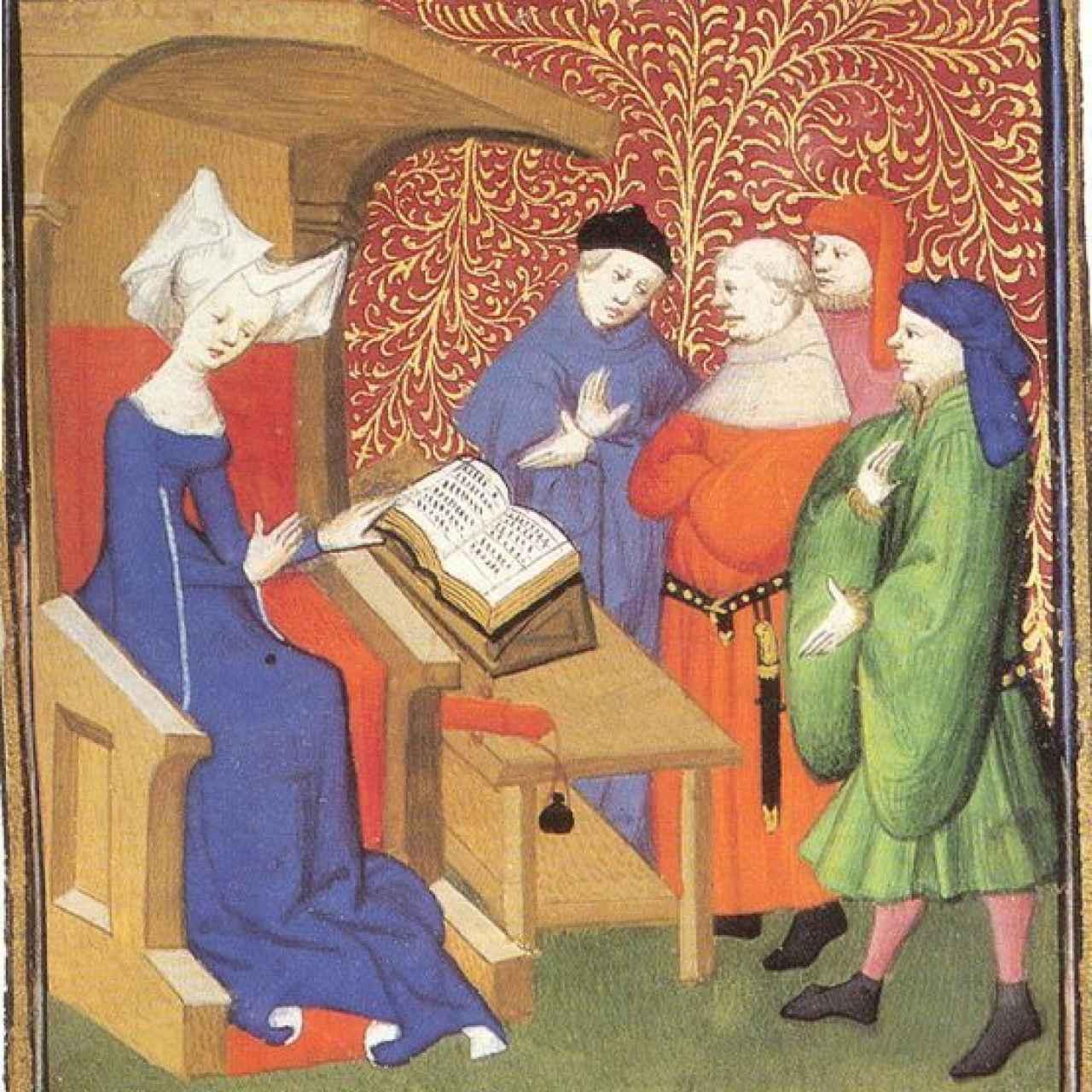 Christine de Pizan dando una conferencia a un grupo de hombres.