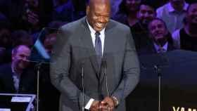 Shaquille O'Neal, durante el acto en memoria de Kobe Bryant