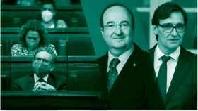 Jauma Giró en el Parlamento catalán. Miquel Iceta y Salvador Illa.