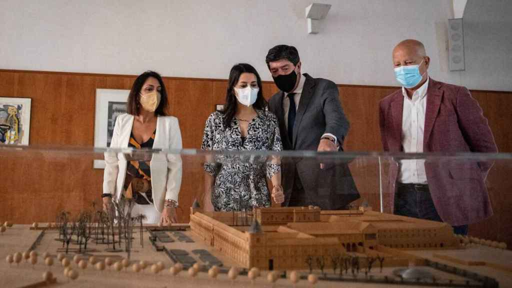 Marta Bosquet, presidenta del Parlamento andaluz, Inés Arrimadas, Juan Marín y Javier Imbroda, consejero de Educación.