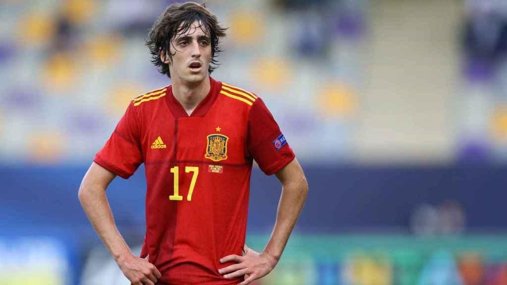 Bryan Gil, durante el España - Portugal del Europeo sub21