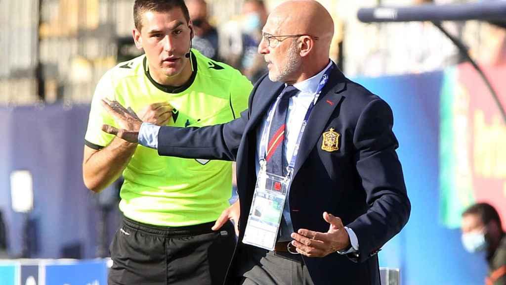 Luis de la Fuente, durante el España - Portugal del Europeo sub21 de 2021