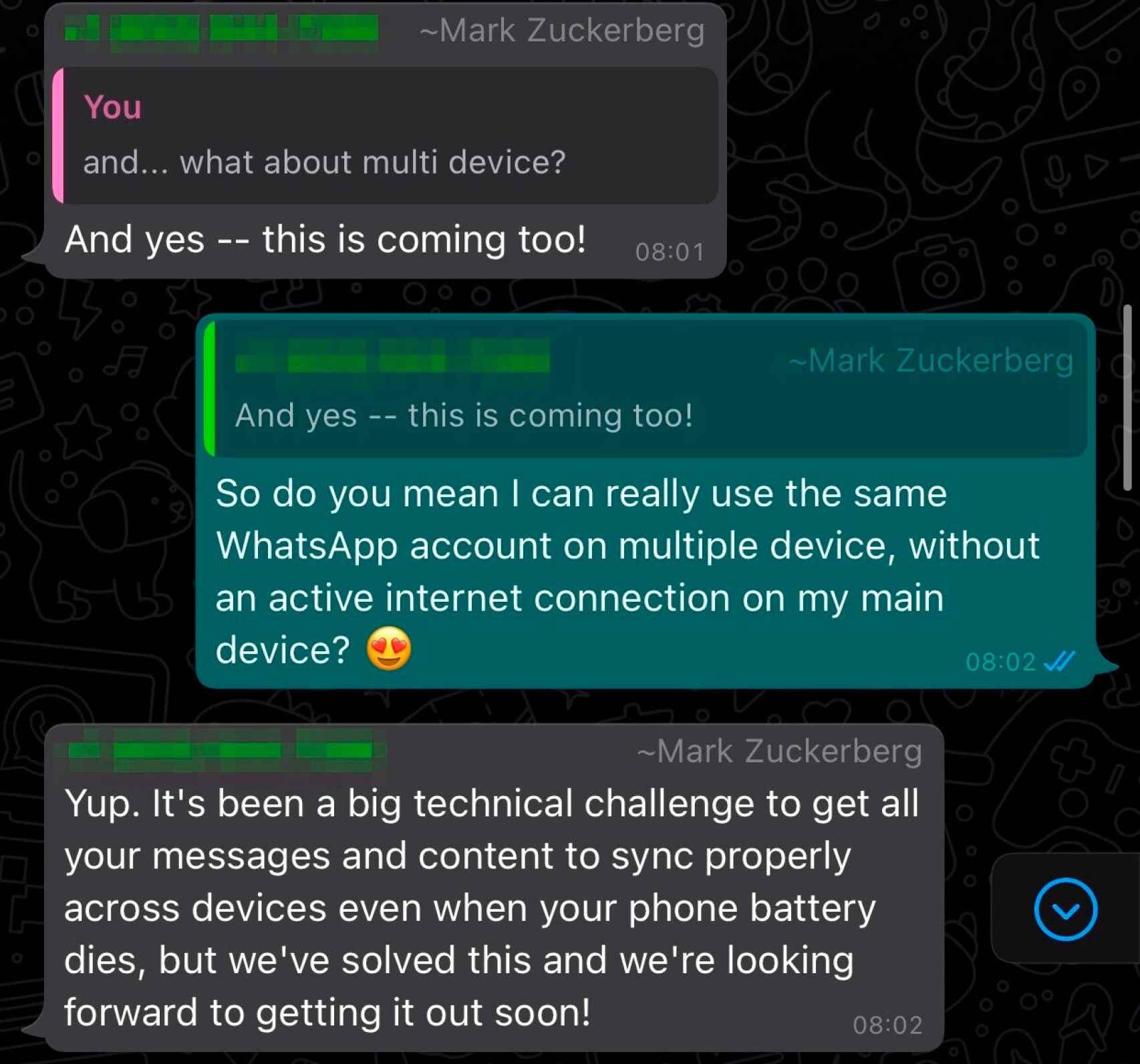 Conversación entre Mark Zuckerberg y WABetaInfo