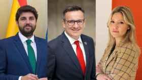 Fernando López Miras (PP), Diego Conesa (PSOE) y Ana Martínez Vidal (Cs).