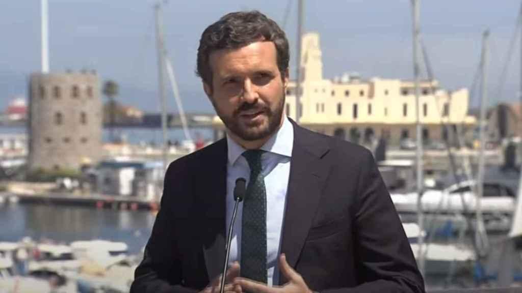El presidente del Partido Popular, Pablo Casado, este jueves en Ceuta.