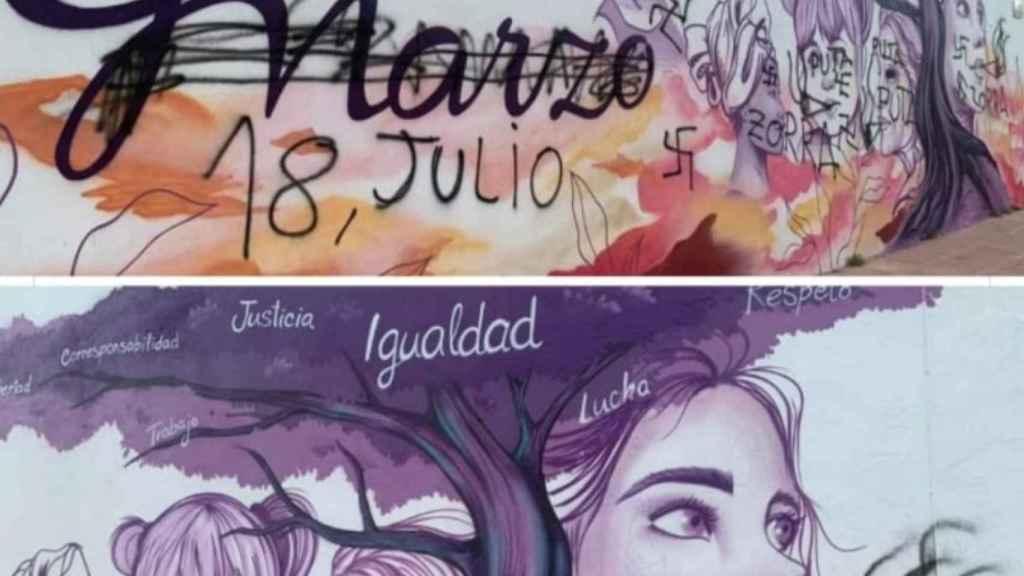 El mural feminista de Baeza ha aparecido destrozado.