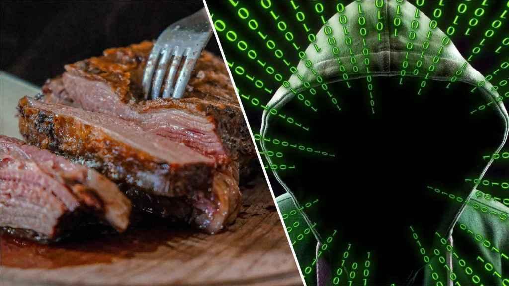 Fotomontaje entre la ilustración de un hacker y un pedazo de carne.