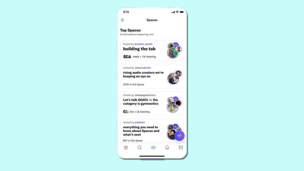 Spaces toma su espacio en la app de Twitter