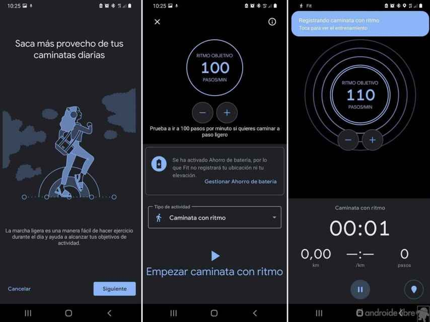 Google Fit caminar con ritmo