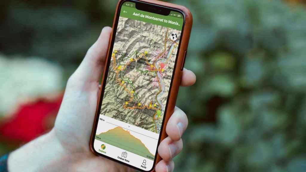 La aplicación Wikiloc mostrando una ruta