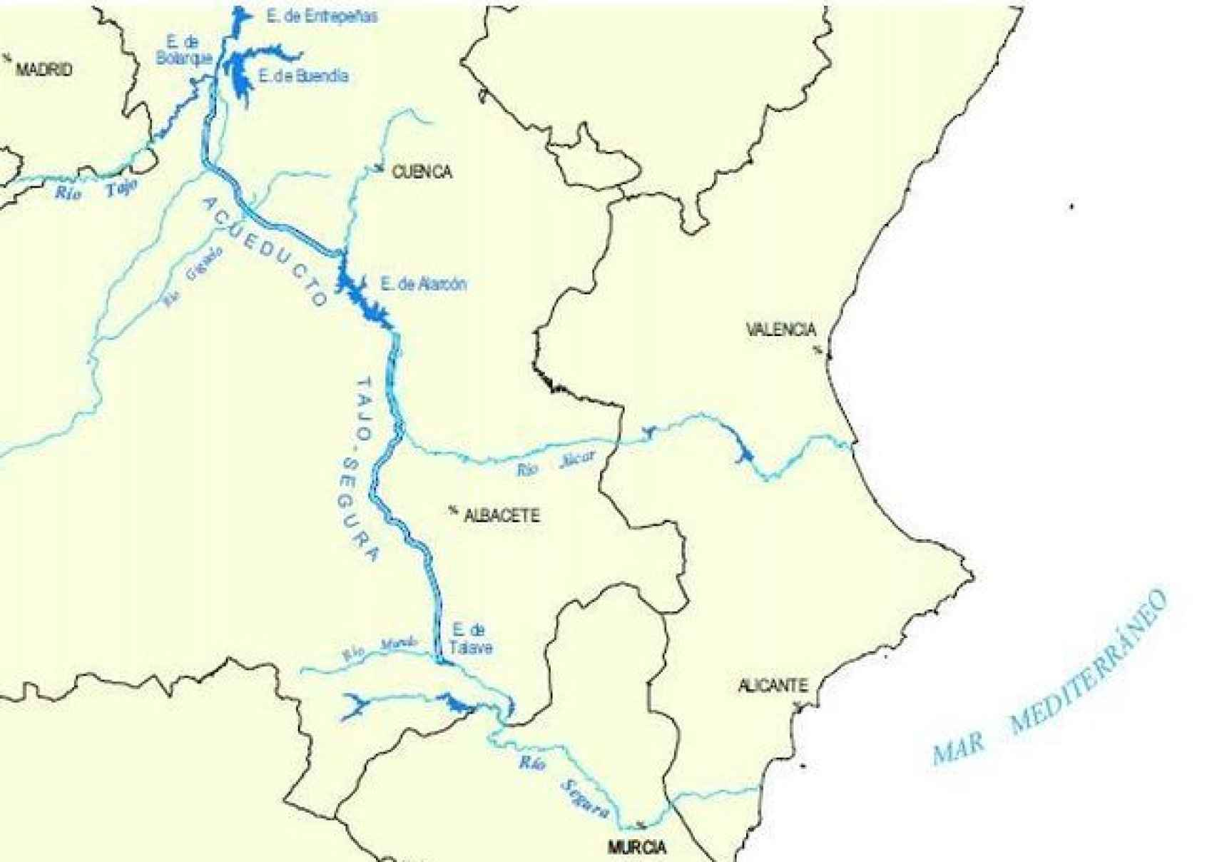 Mapa del trasvase Tajo-Segura.
