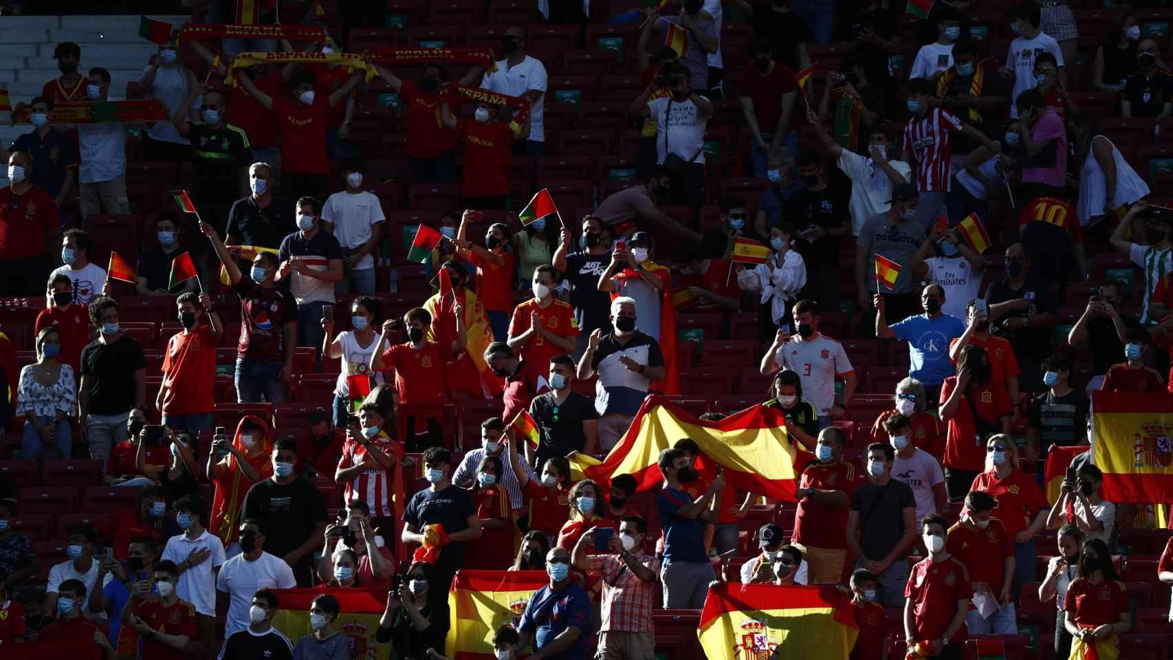 La grada del Wanda Metropolitano con aficionados de España