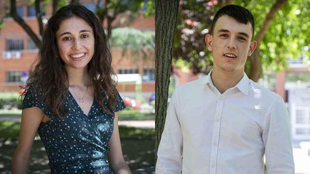Paula Cordero e Ismael Nogal, estudiantes del doble grado de Física y Matemáticas.