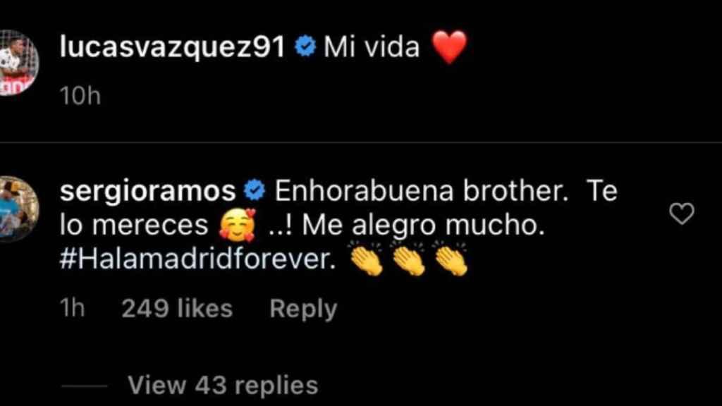 El mensaje de Sergio Ramos a Lucas Vázquez