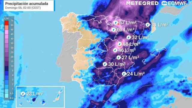 Acumulación de precipitaciones prevista para el sábado 5. Meteored.
