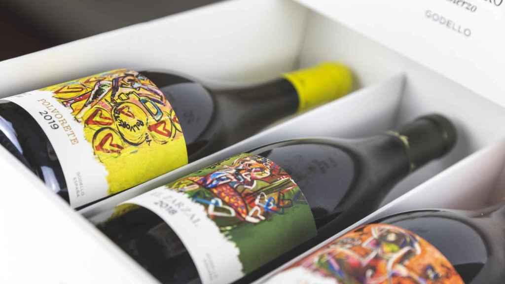Etiquetas diseñadas por Domingo Zapata para los godellos de Emilio Moro.