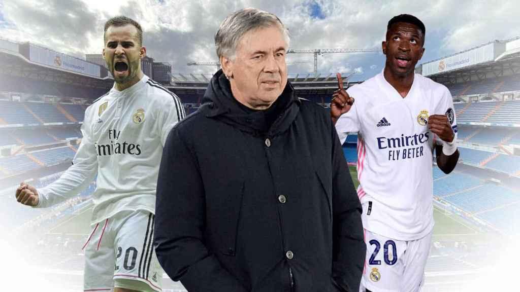 Ancelotti, Jesé y Vinicius, en un fotomontaje