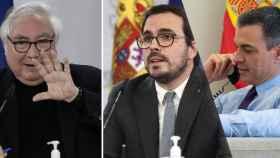 Los ministros Manuel Castells y Alberto Garzón y el presidente del Gobierno, Pedro Sánchez.