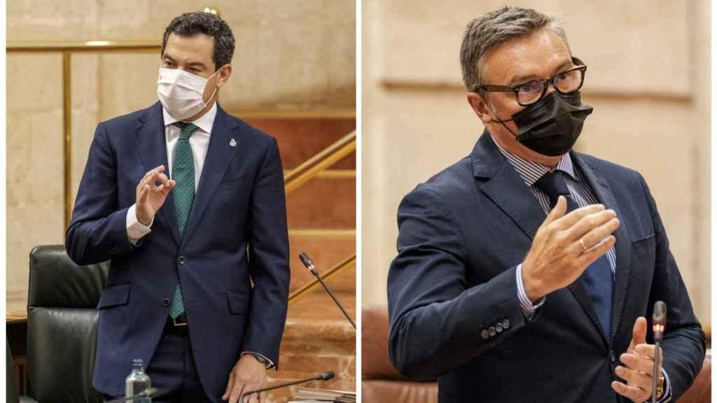 El presidente de la Junta, Juanma Moreno, y el portavoz de Vox, Manuel Gavira.