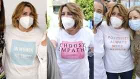 Susana Díaz, con algunas de las camisetas que ha lucido ya en las primarias del PSOE-A.