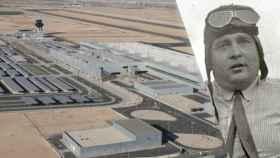 El aeropuerto de Murcia junto a una foto del ingeniero Juan de la Cierva.
