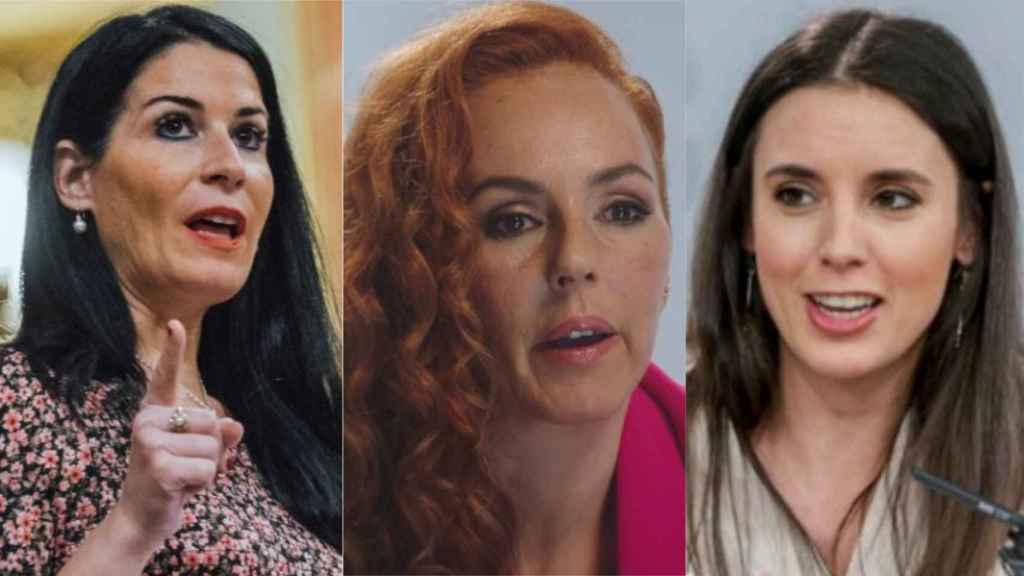 La diputada de Vox Carla Toscano, Rocío Carrasco y la ministra de Igualdad, Irene Montero.