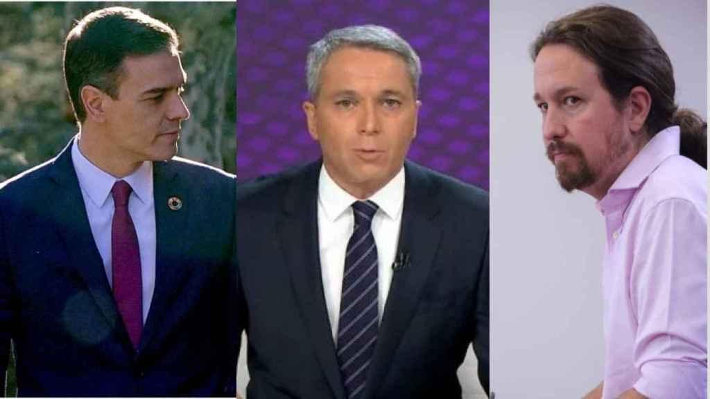 Pedro Sánchez, Vicente Vallés y Pablo Iglesias.
