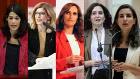 Las líderes de la Asamblea de Madrid: Isa Serra, Hana Jalloul, Mónica García, Isabel Díaz Ayuso y Rocío Monasterio.