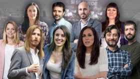 De izquierda a derecha en la fila superior: Isabel Franco, Javier Sánchez, Nacho Álvarez y Ana Domínguez. En la inferior: Noemí Santana, Pablo Fernández, Irene Montero, Ione Belarra, Rafa Mayoral y Juanma del Olmo.