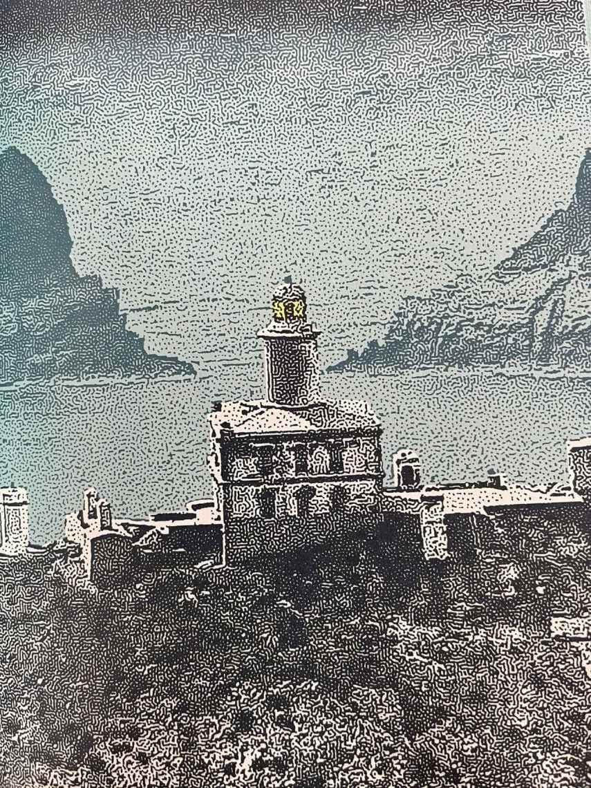 El faro de las islas Columbretes ilustrado por González Macías.