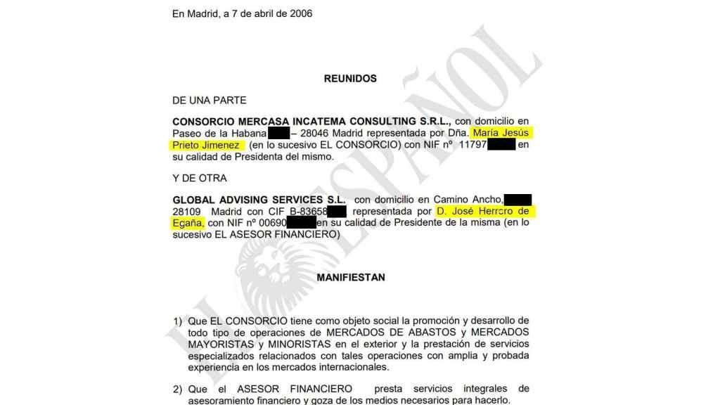 El contrato firmado en 2009 (pero fechado en abril de 2006) entre María Jesús Prieto y José Herrero de Egaña, por el que Mercasa pagó comisiones al sobrino de Cospedal en República Dominicana.