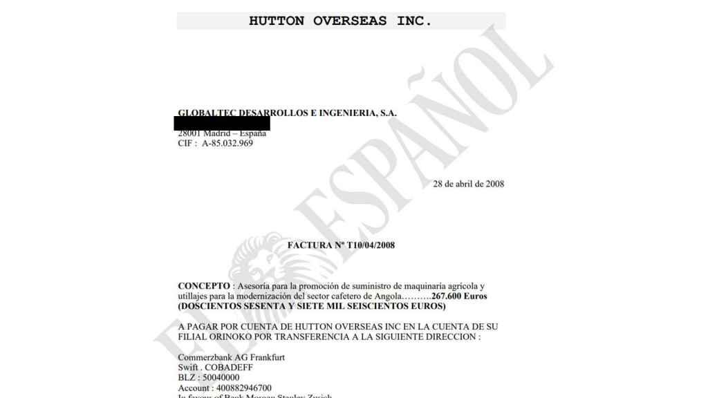 Una de las facturas con las que Globaltec justificó en 2008 los pagos a la sociedad panameña de Herrero de Egaña, Hutton Overseas.
