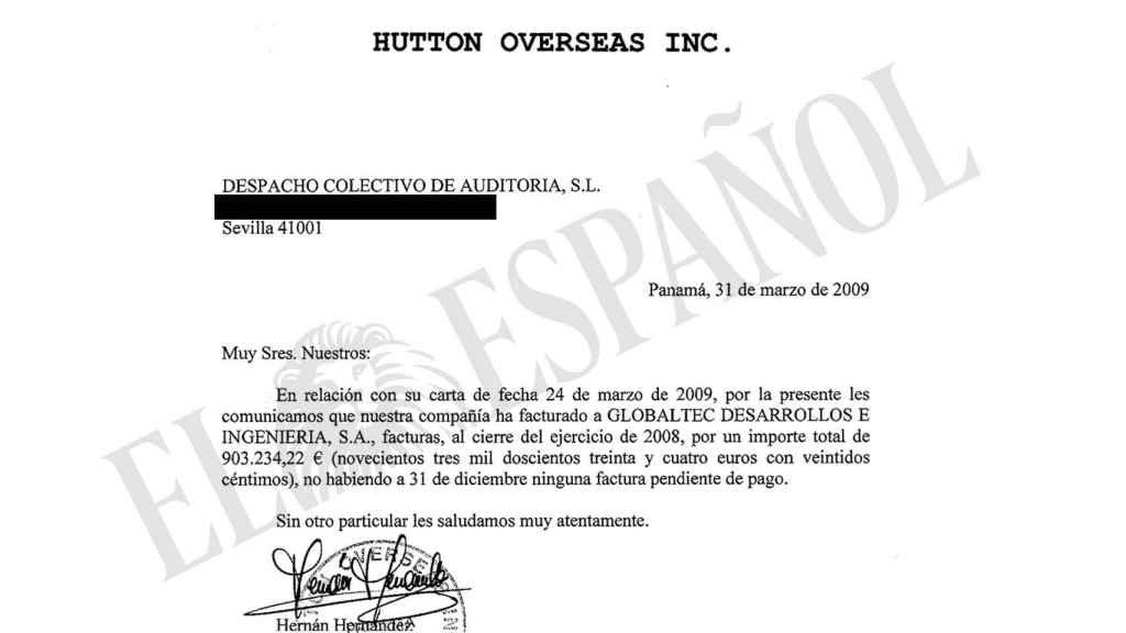 El representante legal de Hutton Overseas Inc justificó en esta carta los pagos de Globaltec recibidos en Suiza.
