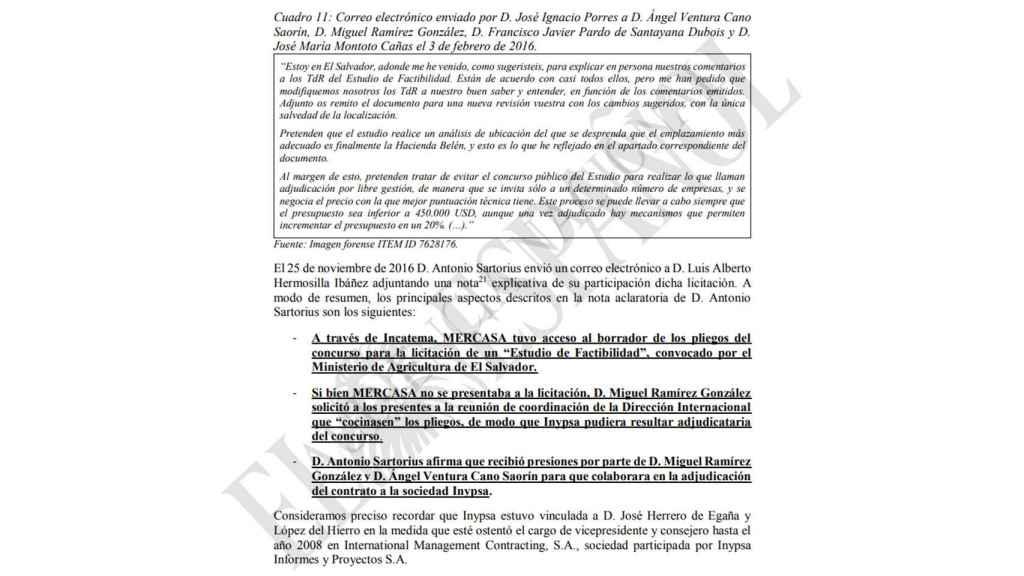 Fragmento del informe pericial entregado por la abogada del Estado Macarena Olona al juez del caso Mercasa el 10 de octubre de 2018.