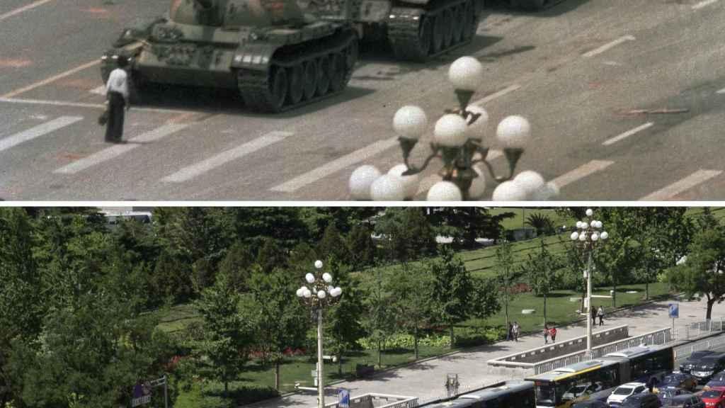 La famosa imagen de una persona enfrentándose a los tanques chinos en Tiananmén, el 5 de junio de 1989.