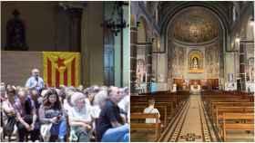 Lla izquierda, la Santa Madrona albergando un acto indepe; a la derecha, las Teresitas