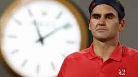 Federer, durante la tercera ronda de Roland Garros